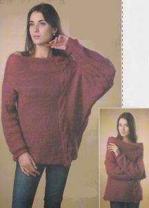 Вязаный асимметричный пуловер спицами