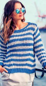 vyazanyj polosatyj pulover spicami 150x280 - Вязаный пуловер в полоску спицами для женщин