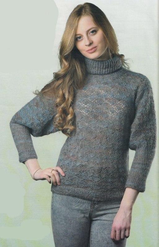 Вязаный пуловер крючком с рукавом летучая мышь