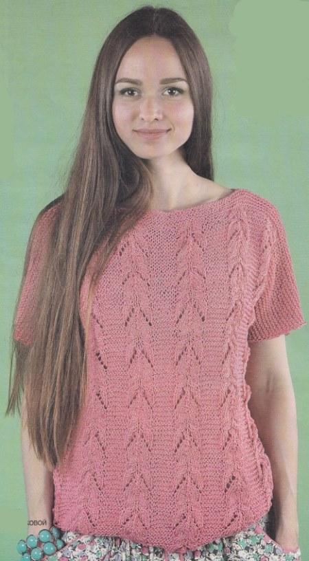 vyazanyj rozovyj pulover spicami - Вязаный розовый пуловер спицами