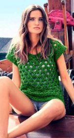 vyazanyj zelenyj pulover spicami 150x280 - Зеленые пуловеры