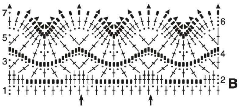 Вязаный шарф крючком схема В