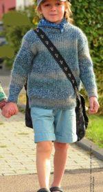 detskij pulover svyazannyj rezinkoj 150x280 - Вязаный свитер для мальчика спицами