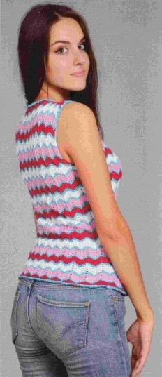 Вязаная майка спицами в цветную полоску 2