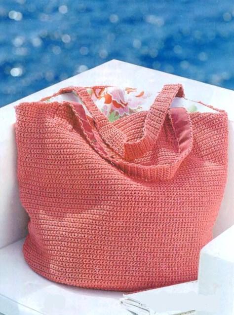 Вязаная пляжная сумка крючком