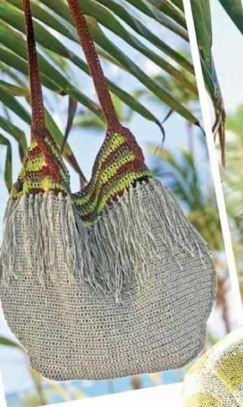 Вязаная сумка-торба крючком