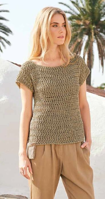 Вязаный пуловер крючком женский