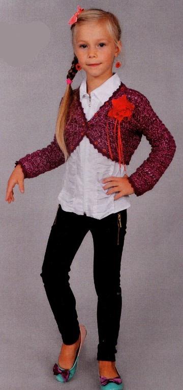 Вязаное болеро спицами для девочки 7 лет
