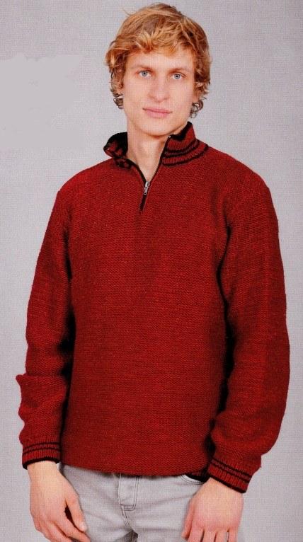 Вязаный мужской пуловер спицами на молнии