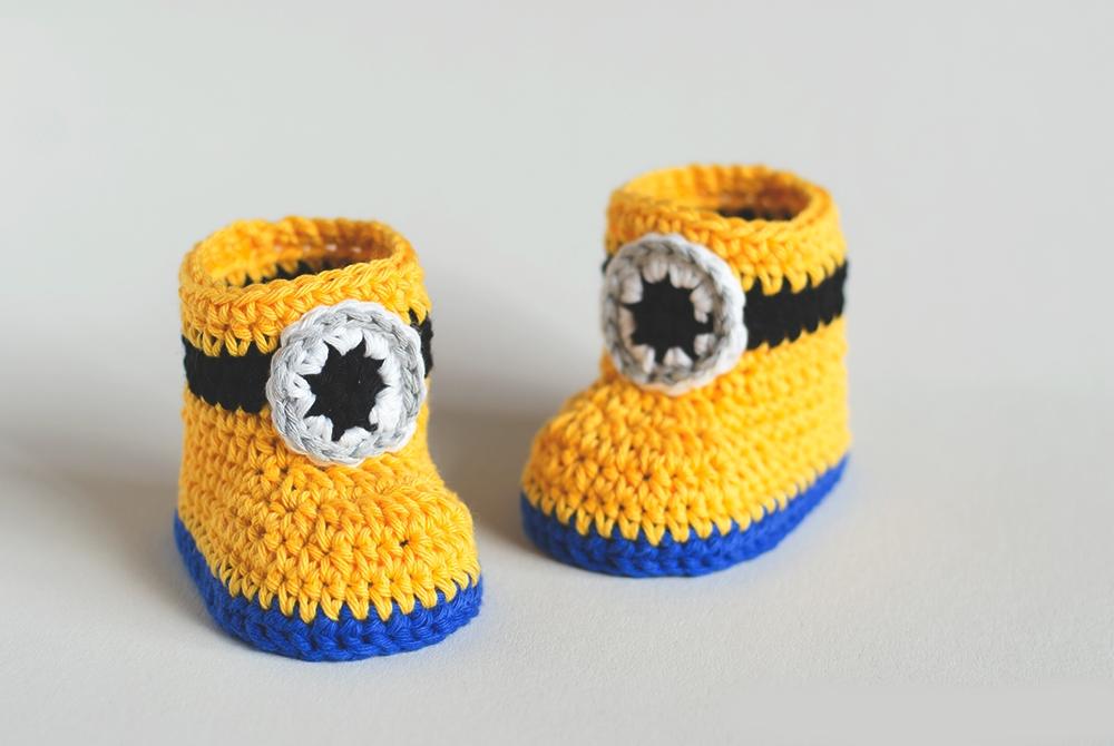 pinetki minony krjuchkom 1 - Вязаные пинетки крючком для новорожденных схемы и описание