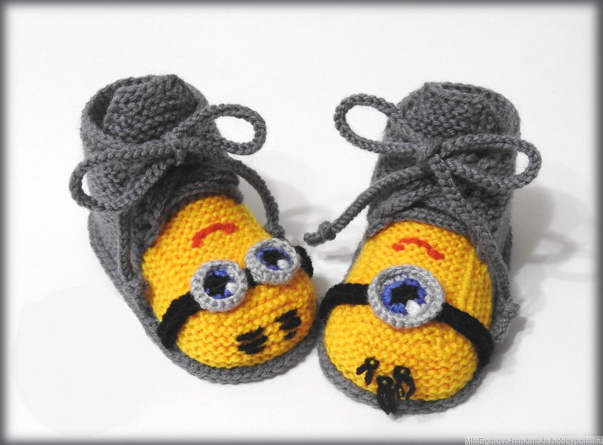 pinetki minony krjuchkom - Вязаные пинетки крючком для новорожденных схемы и описание