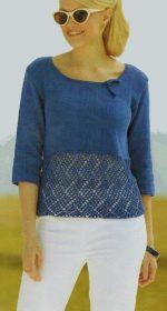 pulover s korotkim rukavom spicami 150x280 - Вязаный пуловер с коротким рукавом спицами