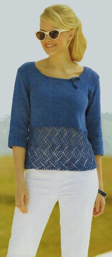 пуловер с коротким рукавом спицами