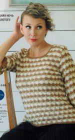 pulover s rukavom 3 4 spicami 150x280 - Вязаный пуловер с коротким рукавом спицами