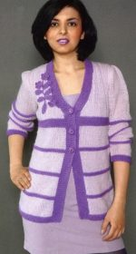 zhaket na pugovicax spicami 150x280 - Вязаные жакеты на пуговицах спицами для женщин