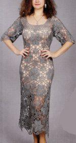 seroe plate krjuchkom 150x280 - Вязаное ажурное платье крючком для женщин схемы и описание