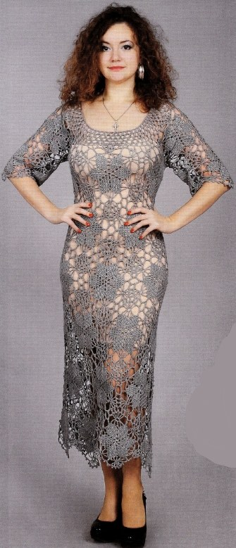 seroe plate krjuchkom - Вязаное ажурное платье крючком для женщин схемы и описание