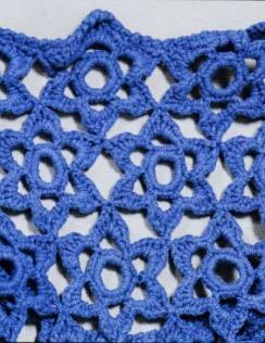 Синее вязаное платье крючком элемент 1