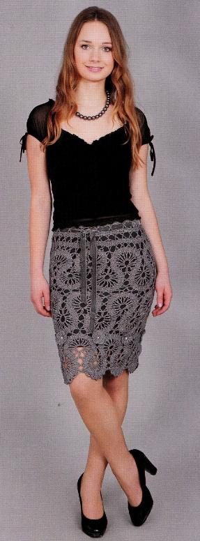 Вязаная ажурная юбка крючком