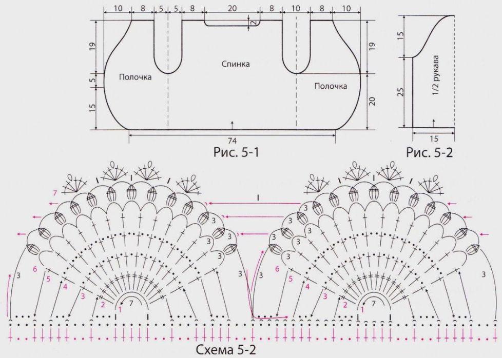 Вязание крючком болеро схема 5-2