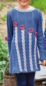vyazanoe plate dlya devochki spicami 150x280 - Вязаные спицами платья для девочек