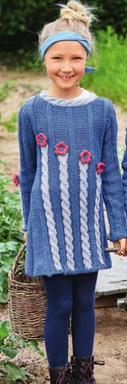 vyazanoe plate dlya devochki spicami - Вязаное платье для девочки спицами