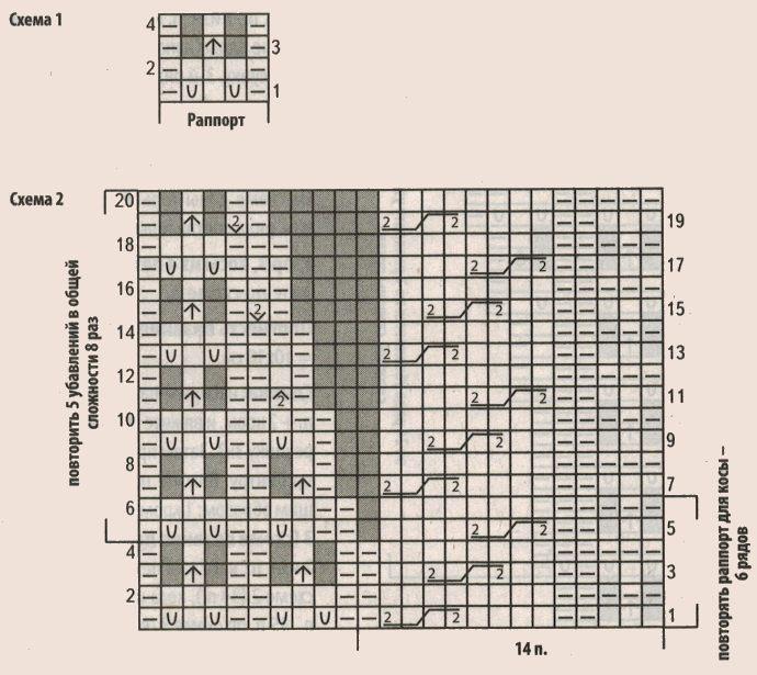 Вязаный темно-синий кардиган спицами схема 1-2