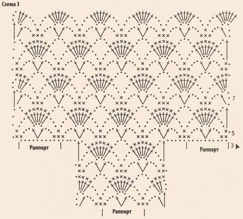 Вязаное ажурное болеро крючком схема 3