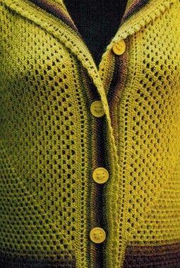 Пальто вязанное крючком осеннее 1