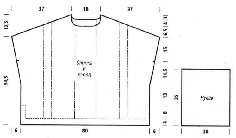 Пуловер оверсайз спицами выкройка