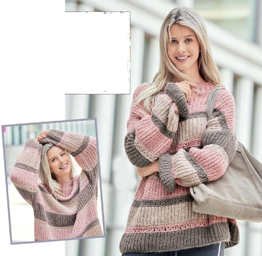 pulover oversajz spicami 2 - Вязаный пуловер оверсайз спицами описание и схема