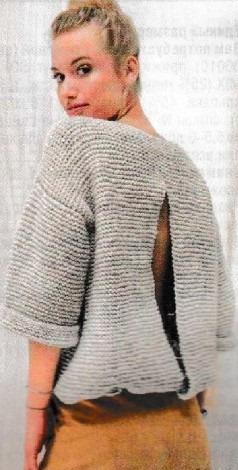 Пуловер платочной вязкой спицами