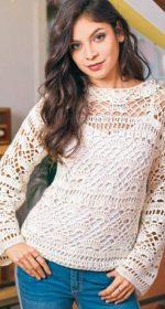 vyazanyj belyj pulover kryuchkom 150x280 - Вязаный пуловер крючком для женщин схемы и описание