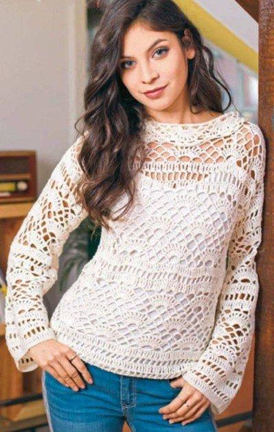 vyazanyj belyj pulover kryuchkom - Вязаный пуловер крючком для женщин схемы и описание