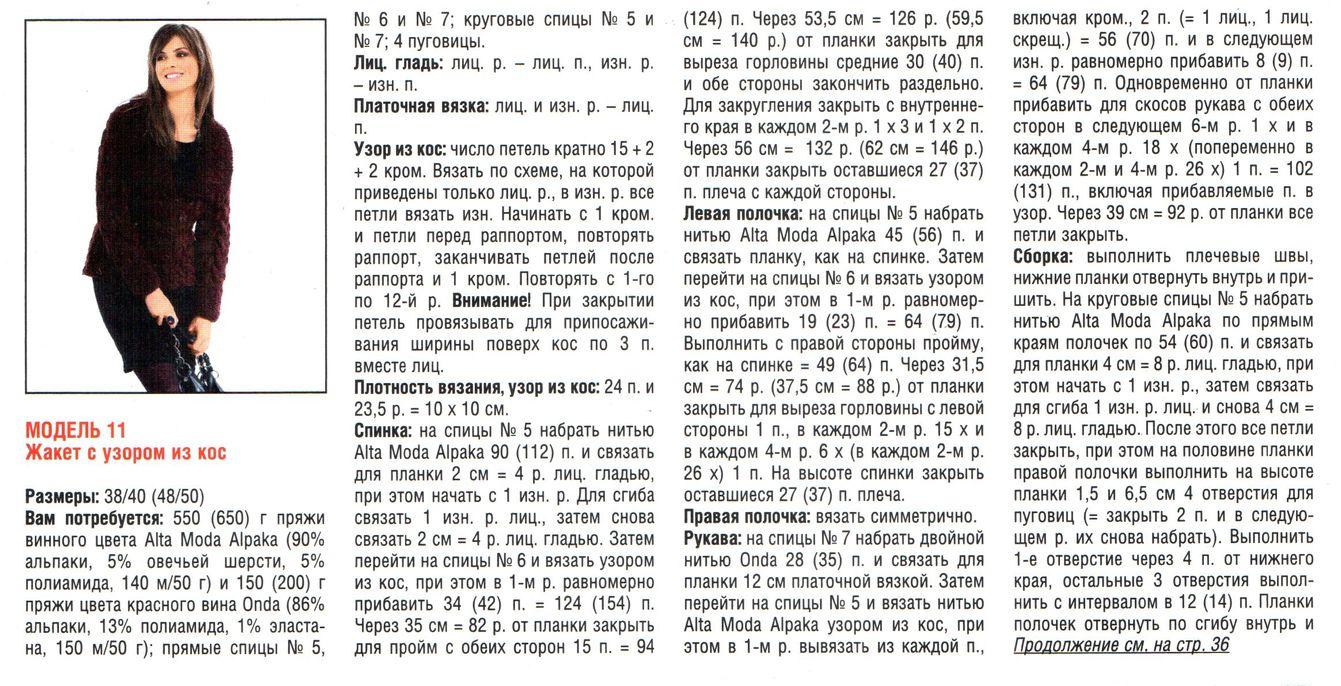 zhaket s uzorom iz kos spicami shemy 4 - Вязаный жакет с косами спицами схемы и описание