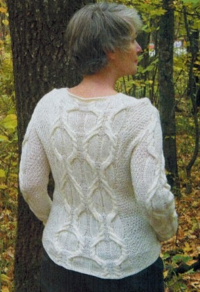 белый пуловер спицами 1