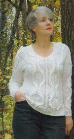 belyj pulover spicami 150x280 - Вязаные белый пуловер спицами женский