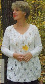 belyj pulover spicami s uzorom listja 150x280 - Вязаные белый пуловер спицами женский