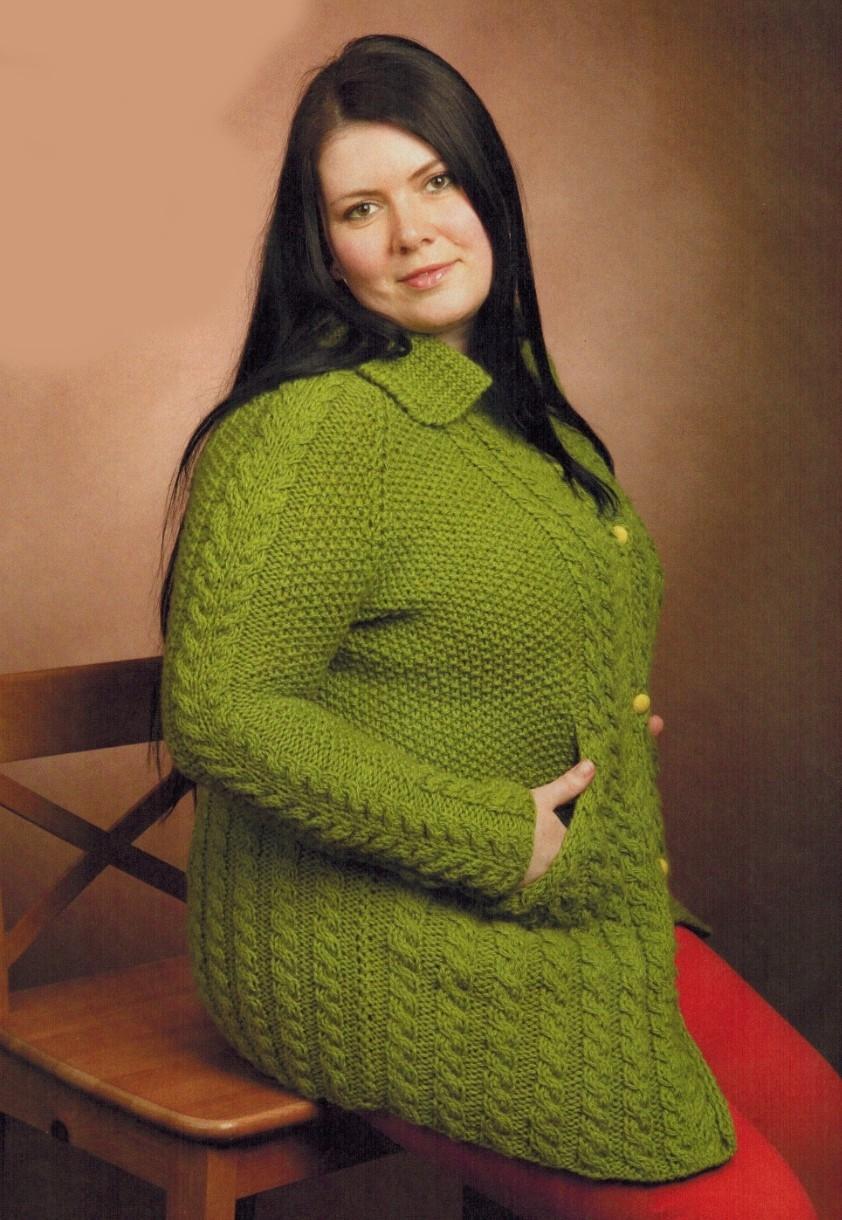 кардиган спицами для полных женщин все вязание