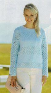 pulover dlya polnyx zhenshhin spicami 167x300 - Вязаные пуловеры для полных женщин спицами