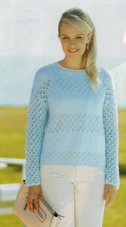 pulover dlya polnyx zhenshhin spicami - Вязаные пуловеры для полных женщин спицами