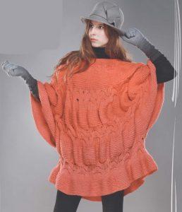 пуловер пончо спицами