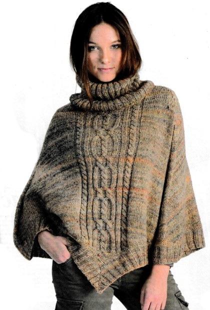 пуловер пончо спицами с описанием