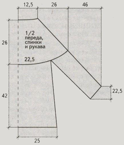 pulover s krugloj koketkoj spicami vykrojka - Вязаный женский пуловер с круглой кокеткой спицами
