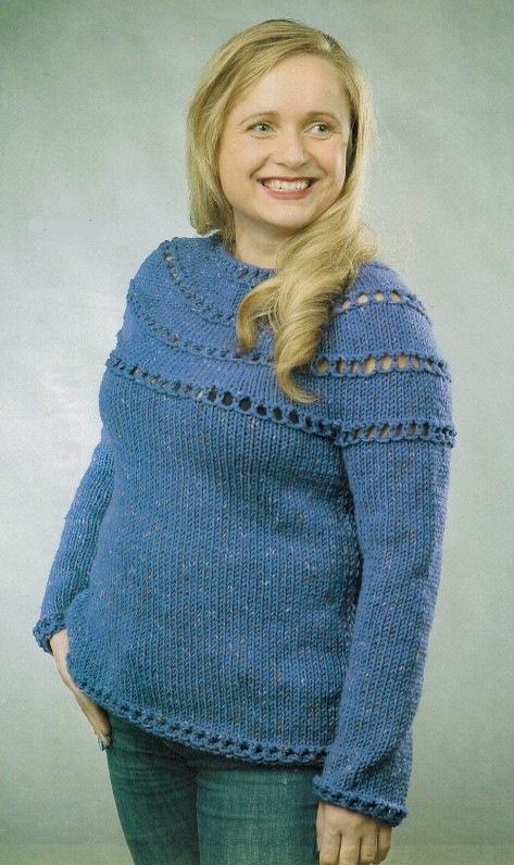 pulover s krugloj koketkoj spicami - Вязаный женский пуловер с круглой кокеткой спицами