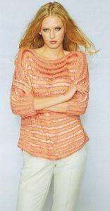 Вязаный легкий пуловер спицами женский