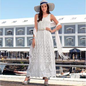 белое платье спицами