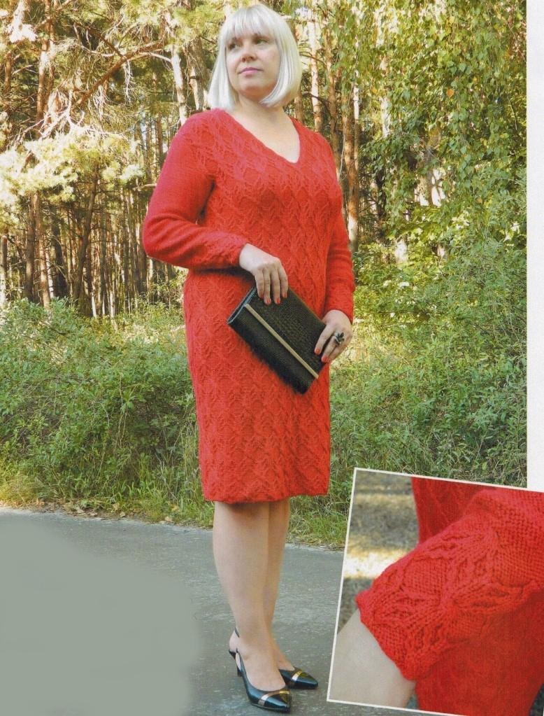krasnoe plate spicami - Вязаное красное платье спицами