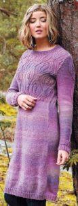меланжевое платье спицами