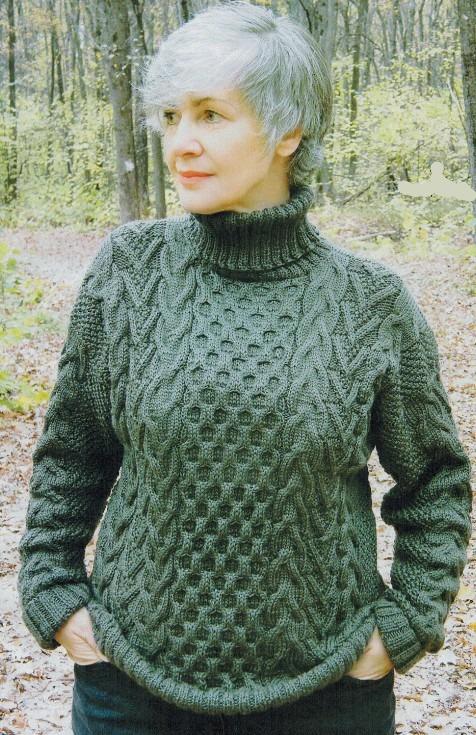 свитер с аранами спицами женский